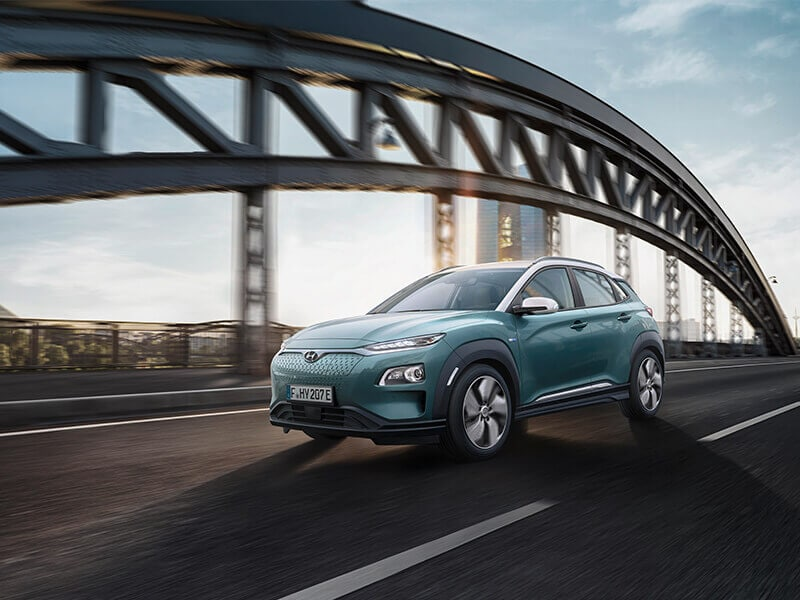 Hyundai Kona Electric on bridge