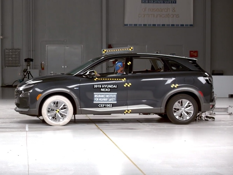 Hyundai Nexo with crash test dummy ready for test