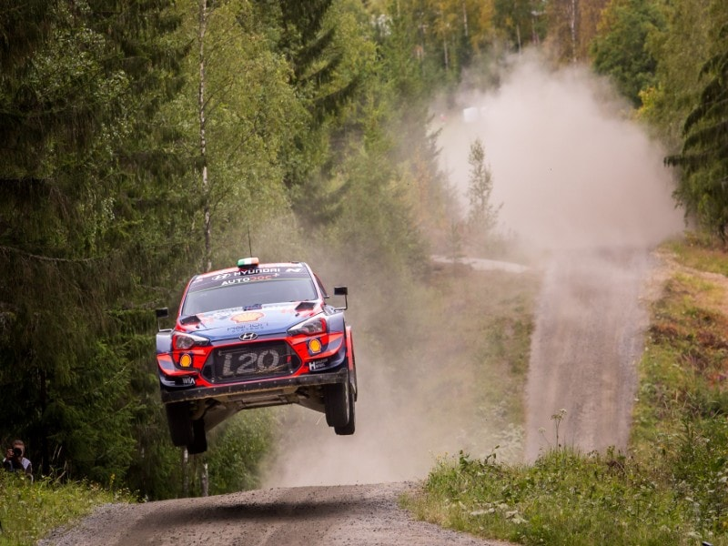 Hyundai i20 Race Car mid-air