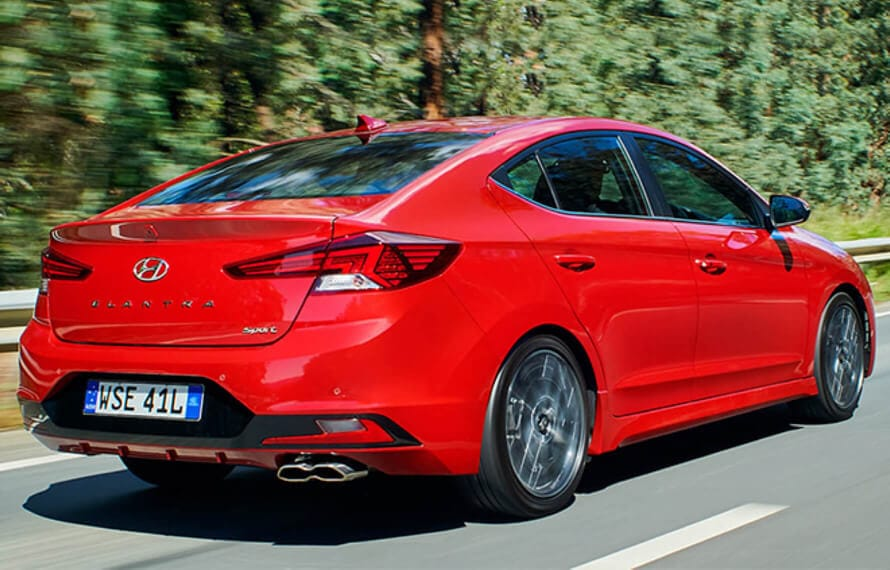 Back Side View of Red Hyundai Elantra