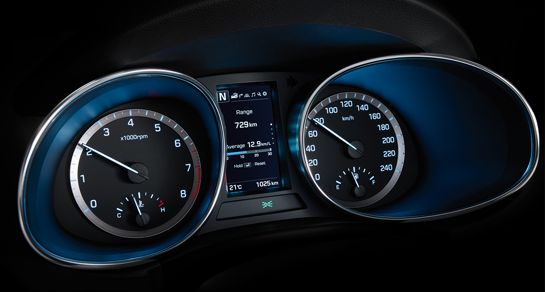 Instrument panel with blue light on