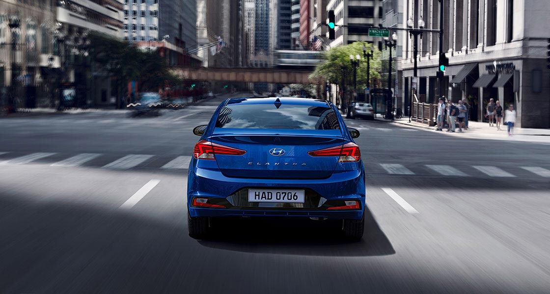 blue elantra 2019 on road