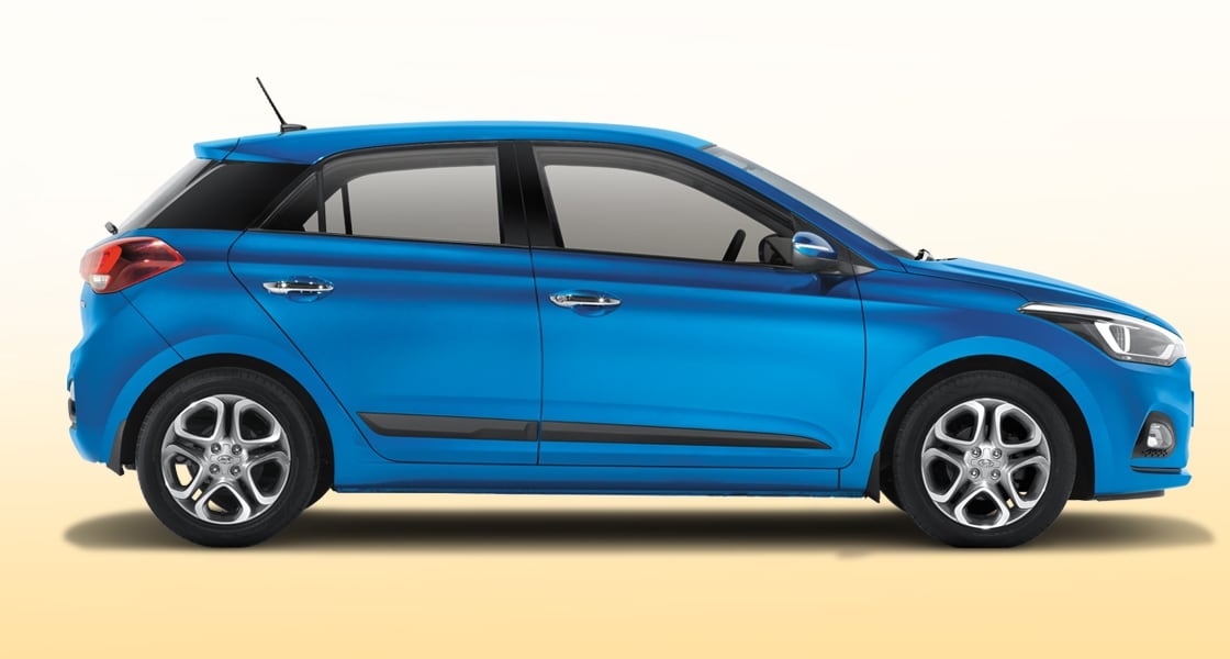 Side view of blue Elantra