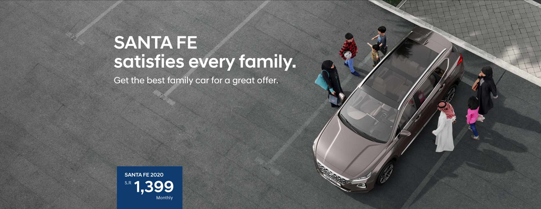 Santa Fe satisfies every family. Avail great offers on the ultimate family-adventure car!