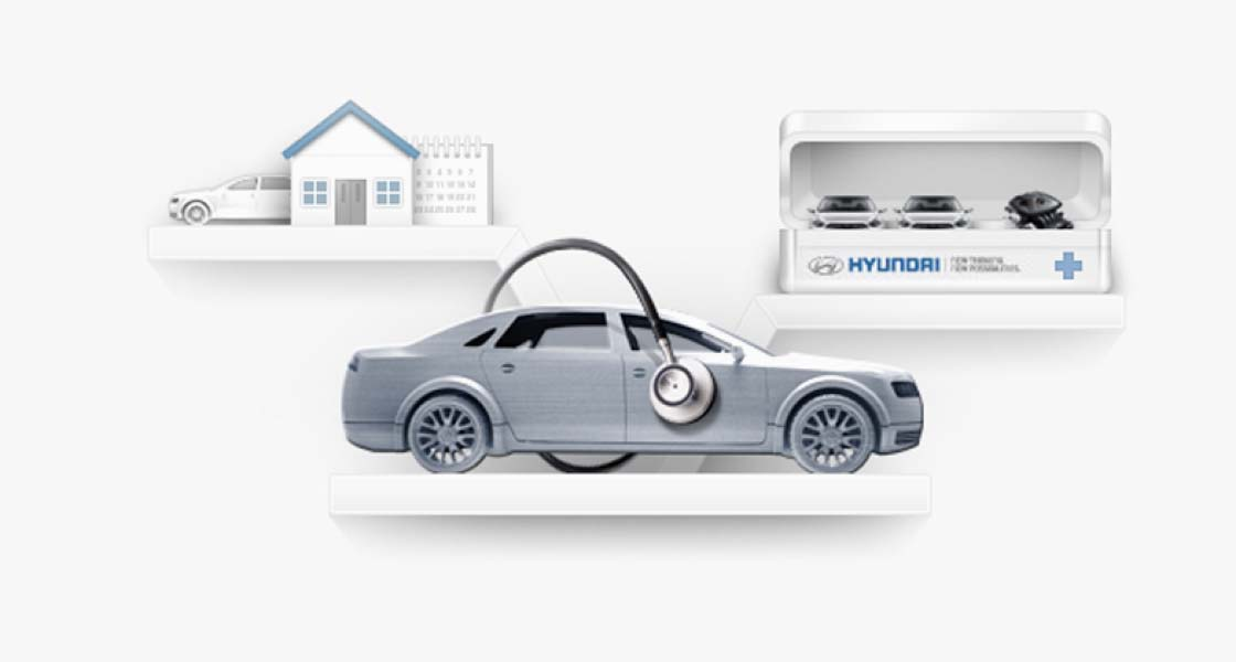There are 3 shelves on the illustration. The center has a car with a stethoscope, the left has a car, a house and a calendar. Also the right has cars on a kit.