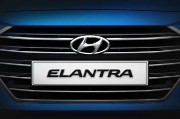 Closer view of radiator grille with Elantra logo