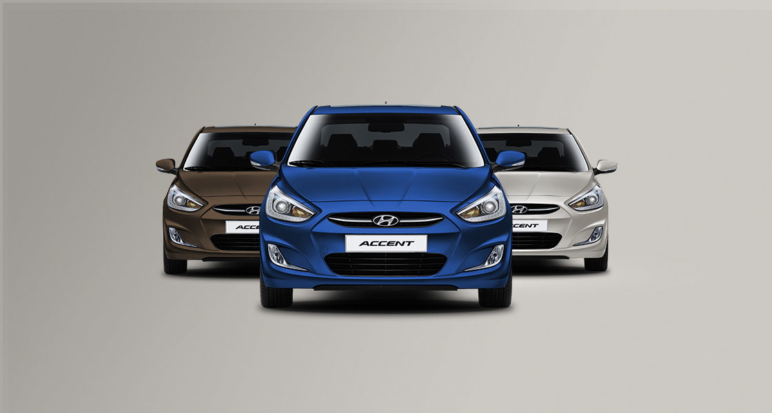 Three Accents in color blue, silver and dark brown from front viewpoint