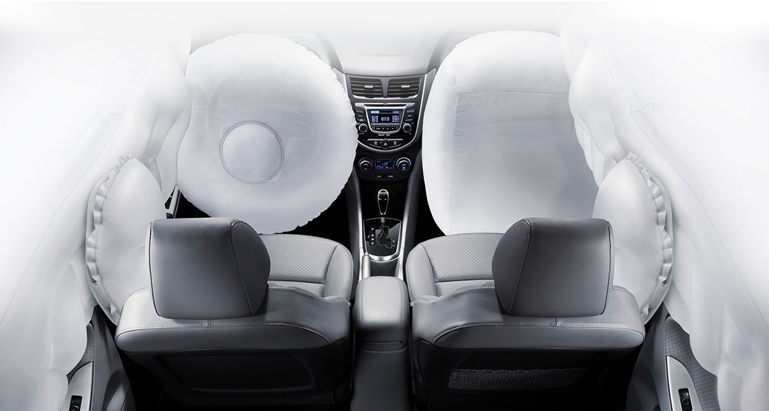 6-airbag system simulated on the front seats area
