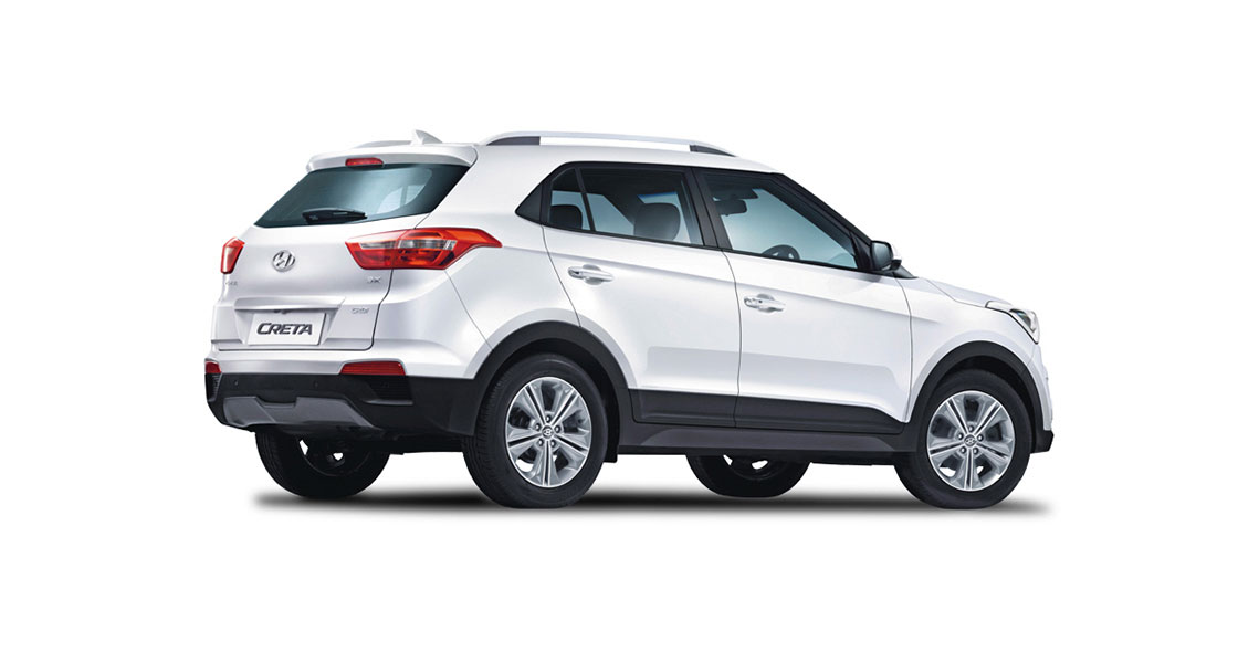 Side rear view of silver Creta