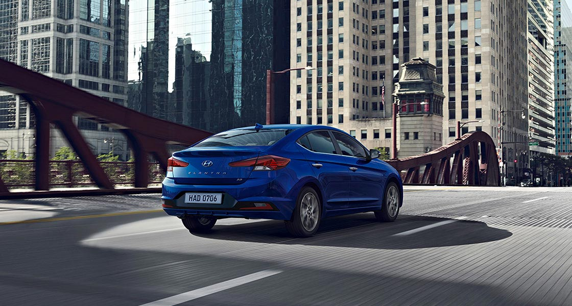 blue elantra 2019 rear on road