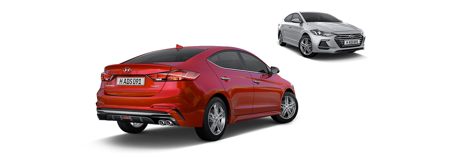 Side rear view of red Elantra Sport in front and silver Elantra Sport at the back