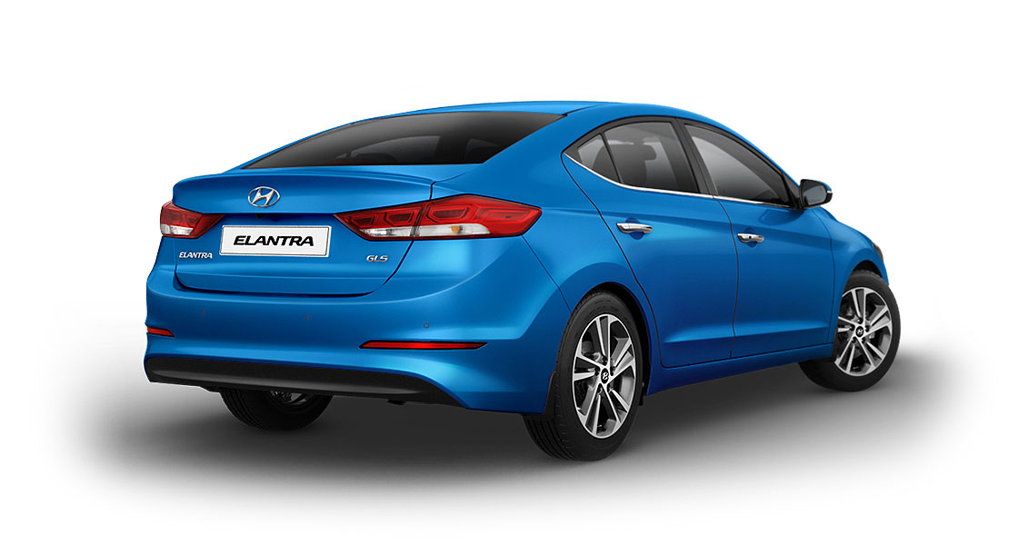 Right side rear view of blue Elantra