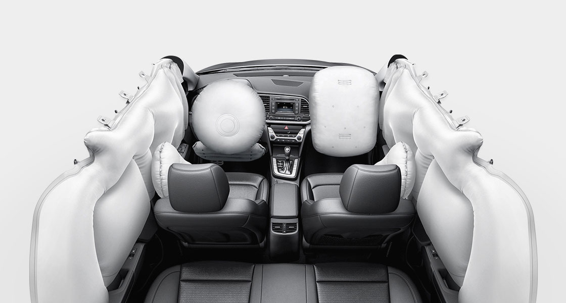 7-airbag system simulated in the interior