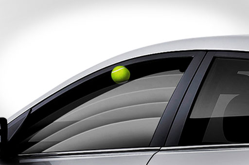 Safety window adjustment control system detects a tennis ball on the window