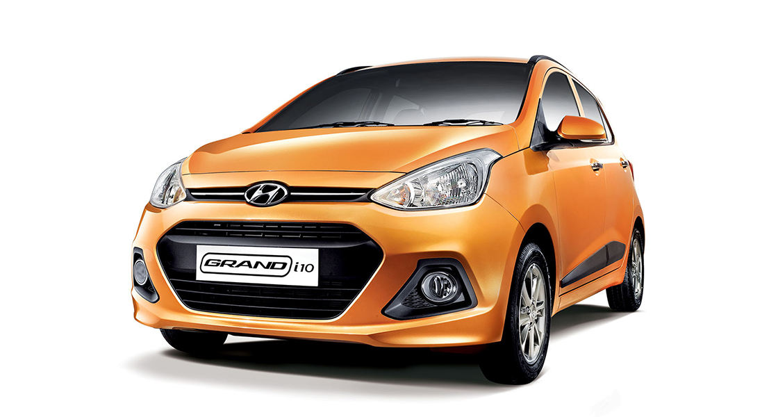 Left side front view of orange Grandi10