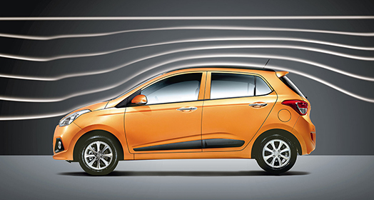 Left side view of orange Grandi10