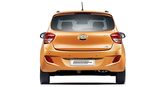 Rear view of orange Grandi10