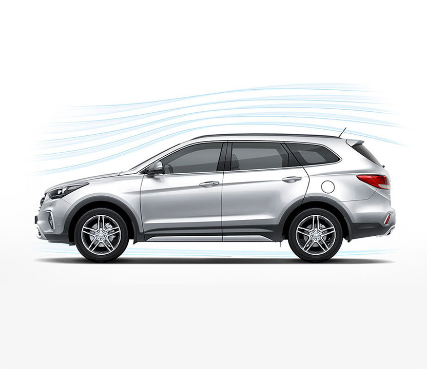 Aerodynamic graphic around the Grand Santa Fe exterior