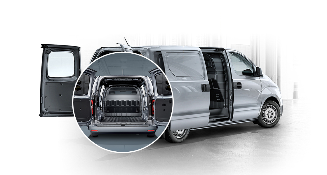 Rear view of ultimate multipurpose van with the doors open and highlight shot of it's trunk