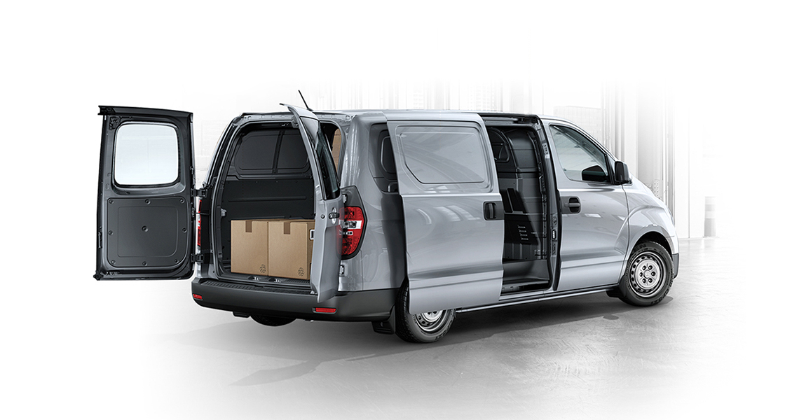 Rear view of ultimate multipurpose van with the doors open