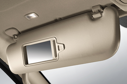 H-1's beige sun visor with a mirror