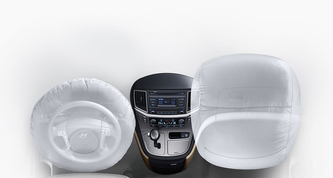 A simulation of two airbags swollen in the front seats