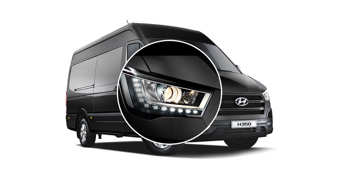 Projection headlamps with LED daytime running lights (DRL)