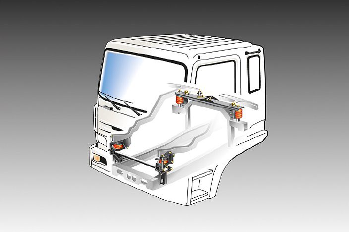 illustration of a hydraulic suspension and 4 coil type mounts in the cab