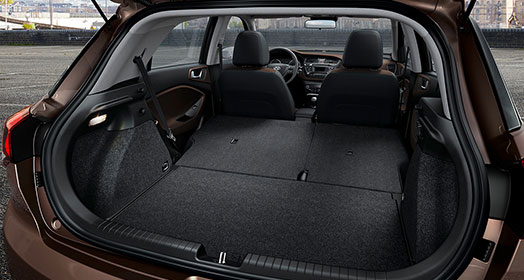 i20 cargo space with both rear seats folded