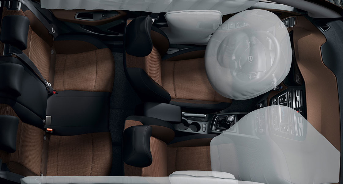 Sky view of interior with airbags simulated