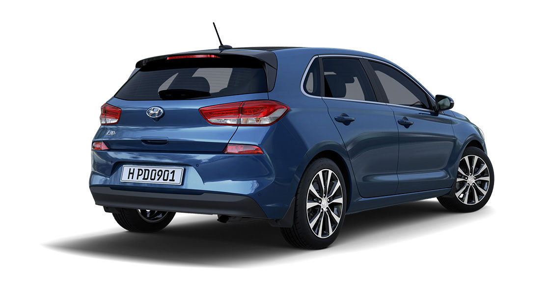 Right side rear view of blue i30