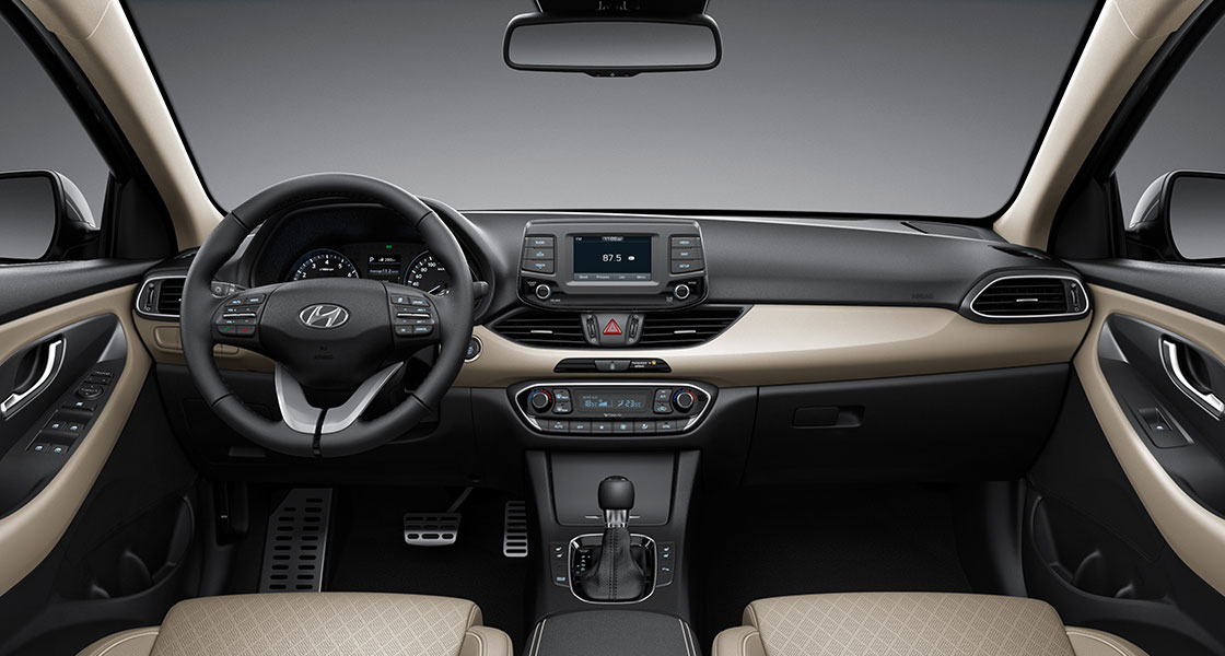 Front view of beige two tone interior