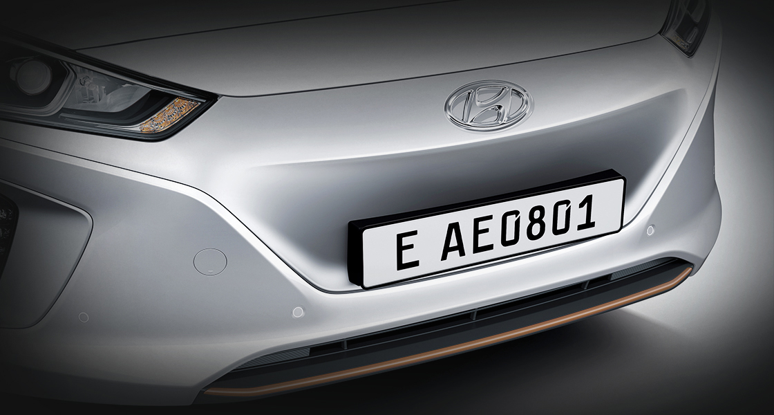 Front part of IONIQ Eclectic with Hyundai Motor Company logo