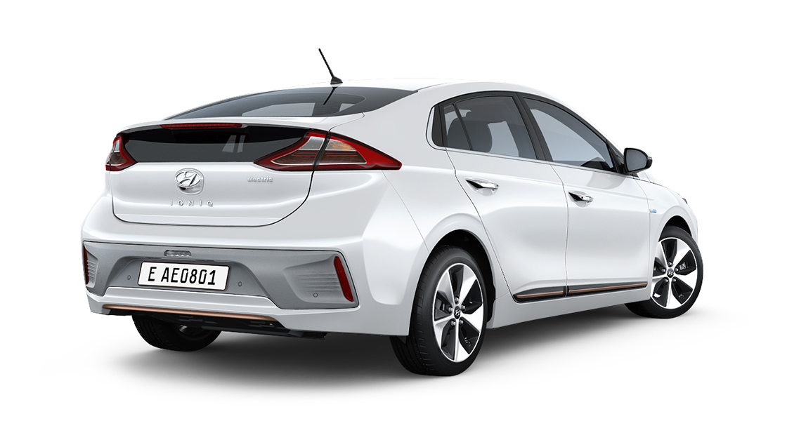 Right side view of white Ioniq electric