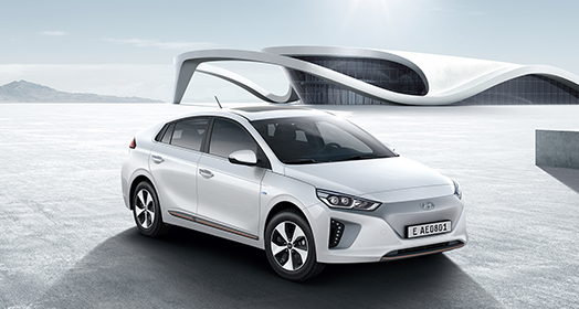 Side front view of white Ioniq electric