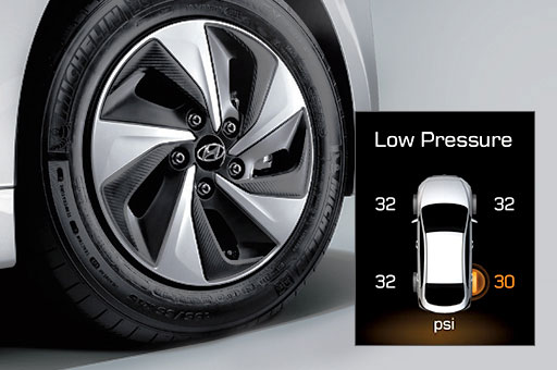 Tire pressure indicator on screen with wheel