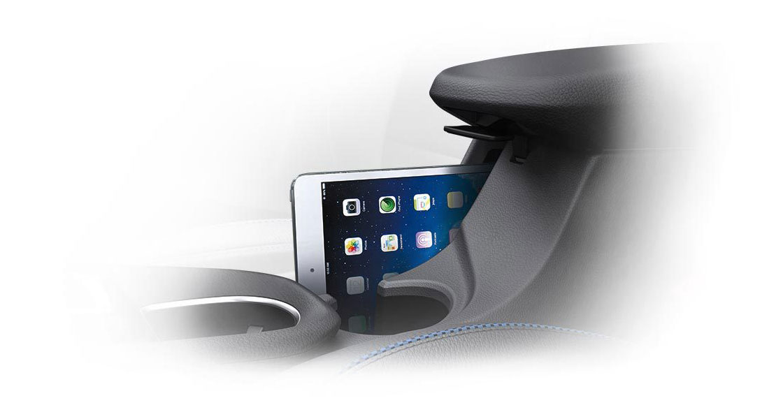 Phone placed in the center console storage
