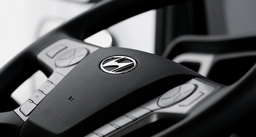 Steering wheel with Hyundai motors company logo