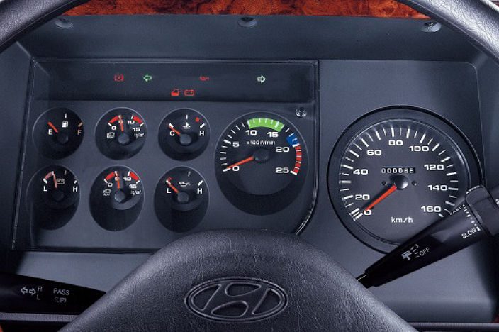 image of cluster including speedometer, RPM and fuel gauge and warning lights