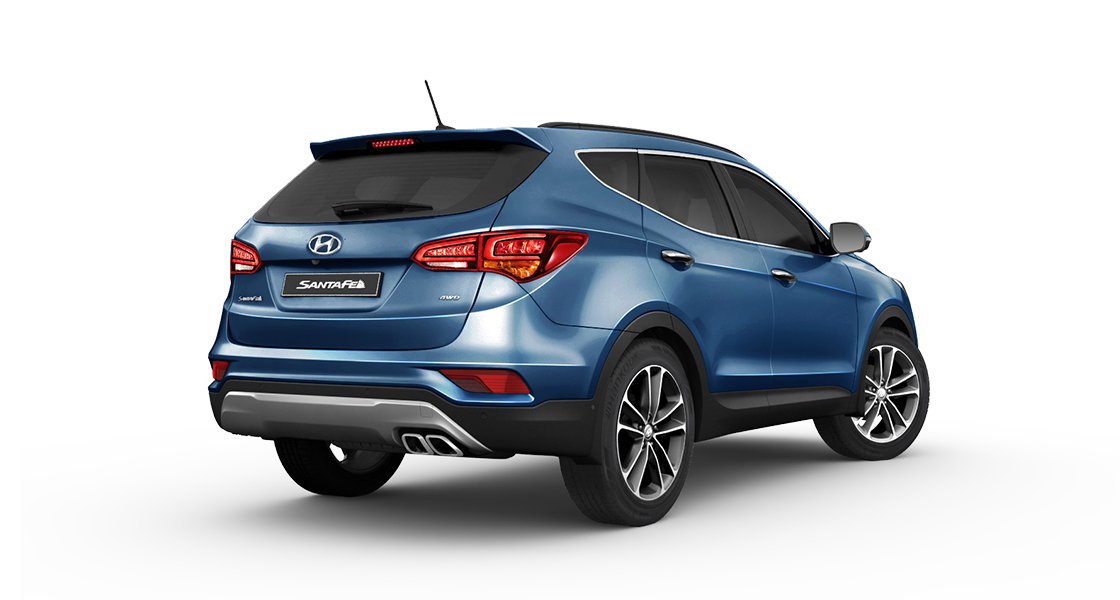 Side rear view of blue Santa Fe