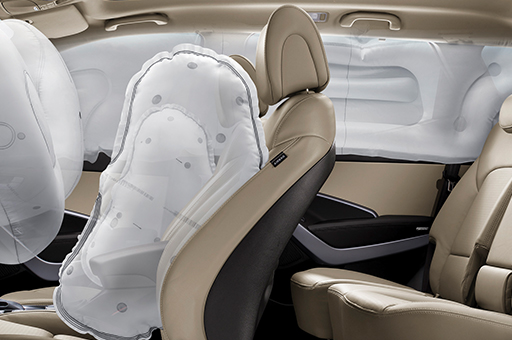 6-airbag system simulated on driver's seat