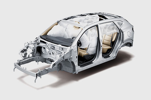 6-airbag system simulated on the skeleton of Tucson