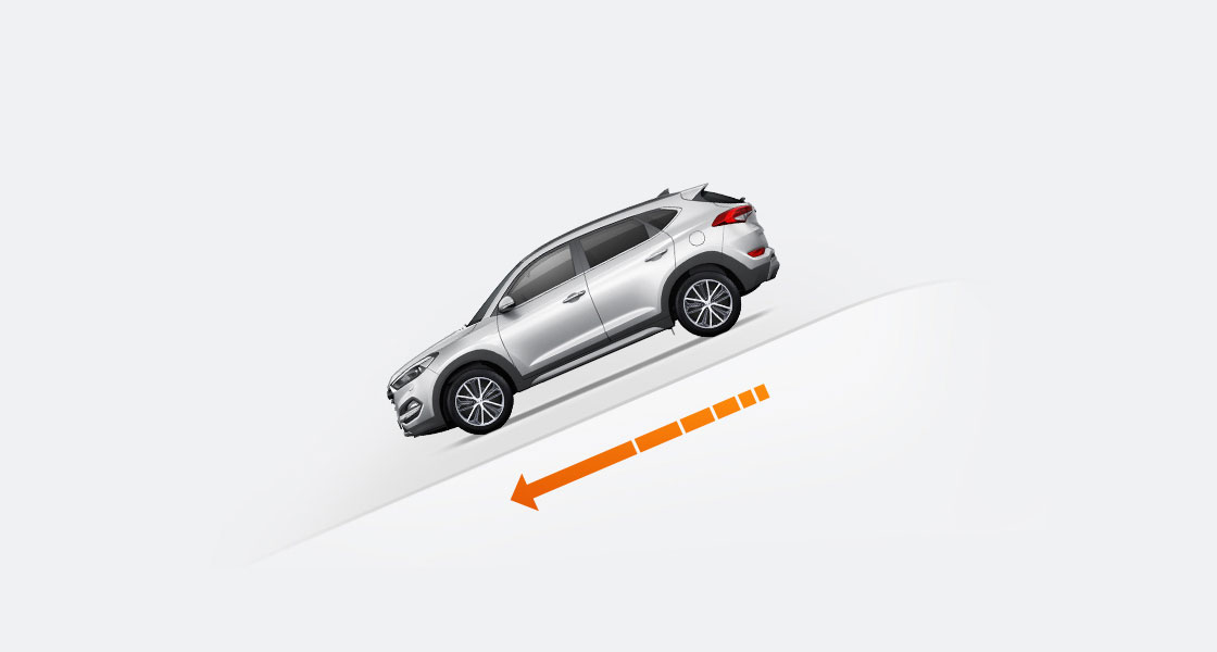 Illustration of side view silver Tucson driving down the hill