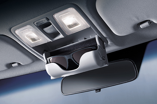 Sunglasses stored in the overhead console