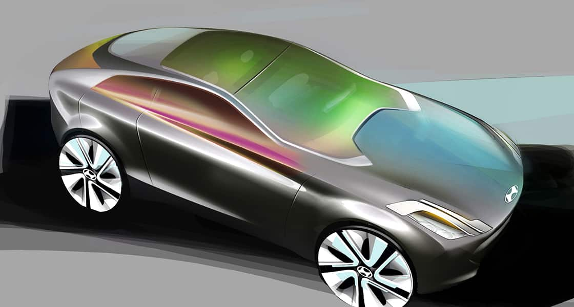 Concept design illustration of side front view of i-oniq from high view point with colorful colors on the top of the car