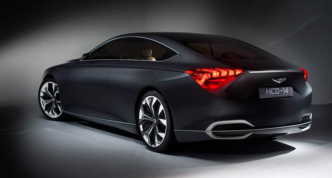 Rear side view of 2013 HCD-14 Genesis