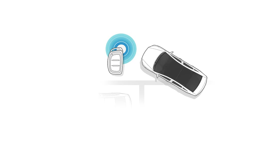 An illustration of a car diagonally placed from top view for Remote Parking Assist System