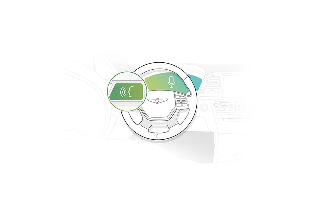 illustration of an Interactive Voice Recognition on a steering wheel with cockpit area