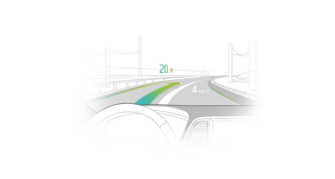 An illustration of view from a front windshield with road guidance on it