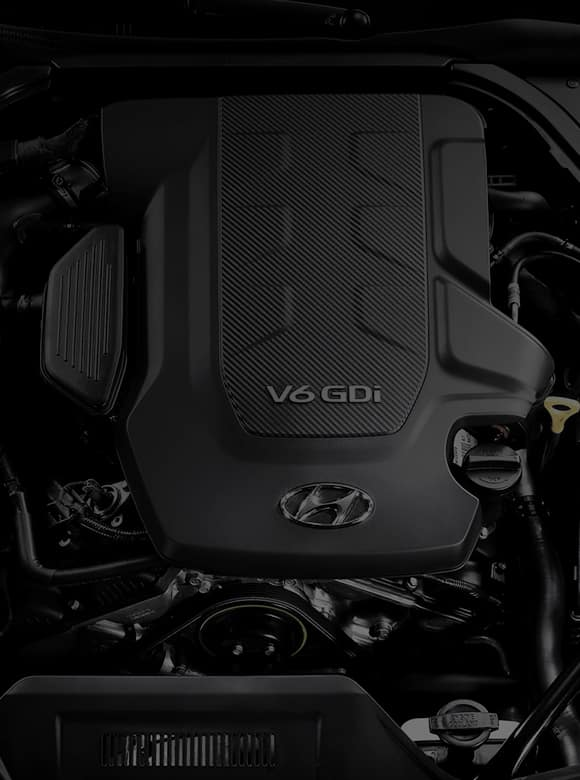 Close view of V6 GDi engine